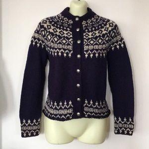 Ski style Sweater Purple and Cream hand knit nice